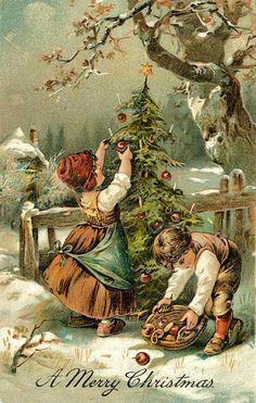 Vintage Christmas Art Postcards www.rubylane.com @rubylane Follow us on Facebook http://www.facebook.com/rubylane #vintage #antiques #jewelry