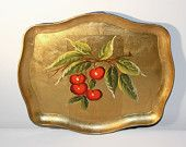 Nashco Hand Painted Gold Serving Tray, Lacquered Decorative Cherries