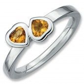 Sterling Silver Stackable Expressions Citrine Double Heart Ring