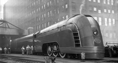 In the 1930s, the railroads introduced Streamlined Passenger trains to bring excitement and to lure passengers to back the rails, as the recent lowering of the prices of cars (Model T etc) had discouraged spending money on riding trains when a used car was quite affordable. / Steampunk Vehicles