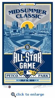"""Handmade Serigraph celebrating the 2016 All-Star Game in San Diego. Limited edition of 500. Each is signed by artist Chris Speakman and individually numbered on 100% cotton, archival Stonehenge brand paper. Unframed measures 10""""x16.5"""". Also available double matted in 2016 All-Star Game colors and framed in a gloss black metal molding ($40 additional, select above). Framed print measure 12""""x18"""" This Sports Propaganda original collectible adds a touch of class to any sports fans wall."""
