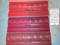 Sample Board Burgundy Emperor's Silk Primer Red Chalk Paint The Purple Painted Lady The Purple, Annie Sloan Chalk Paint Colors, Annie Sloan Paints, Red Chalk Paint, Milk Paint, Chalk Paint Projects, Chalk Paint Furniture, Paint Ideas, Annie Sloan Farbe