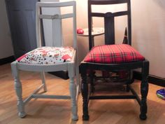 chairs from a skip now with reworked by julie @ tjs hearts and crafts Granny Chic, Vintage Chairs, Something Old, Recycled Furniture, Shabby Chic Furniture, Vanity Bench, Bar Stools, 1950s, Upcycle