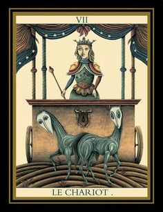VII. The Chariot - Le Tarot Noir by Matthew Hackiere