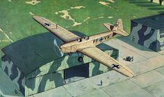 Cover illustration of BaerenzCao for a aircraft Model kit. 45x70 cm, oil on canvas. Type Klemm Kl 25, a German before WWII sport and school airplane.