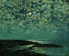 1892 Frederick Childe Hassam (American Impressionist; 1859-1935) ~ Moonlight, Isle of Shoals