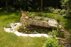 Un petit bassin de jardin et un mur en pierres
