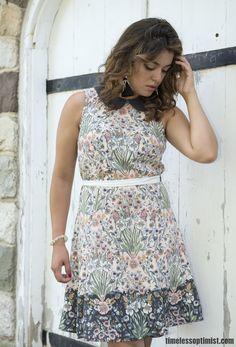 www.timelessoptimist.com || LC Lauren Conrad Print A-Line Dress in Georgie…