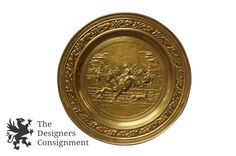 """Embossed 22"""" Round Brass Equestrian Fox Hunt Wall Plaque Vintage Horse Jumper 