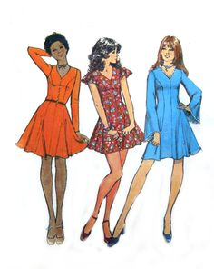 70s Princess Mini Dress - Simplicity 9811 - Bell Sleeves / Butterfly Sleeves - Vintage Sewing Pattern - Size 14 / Bust 36 Uncut. $12.95, via Etsy.