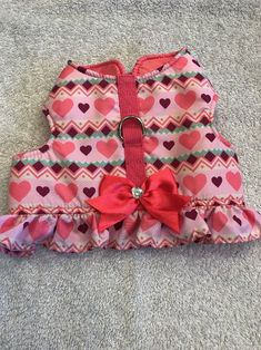 Dog Decorative Harness Size M Pet Stuff Pink With Hearts Crooked Lines Ribbon #Unbranded