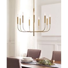 Generation Lighting Designer Collections ED Ellen DeGeneres Crafted by Generation Lighting Brianna 30 in. W Burnished Brass Chandelier with Swivel Canopy - The Home Depot Dining Room Lighting, Wall Sconce Lighting, Chandelier Lighting, Chandelier Shades, Dining Chandelier, Chandelier Ideas, Wall Sconces, Circa Lighting, Dining Pendant