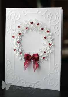 White with red. Christmas/Valentine's Day card