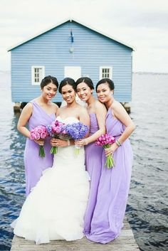 Radiant orchid inspiration. Lilac bridesmaids. Naeem and Judy's Elegant Lilac and White Wedding