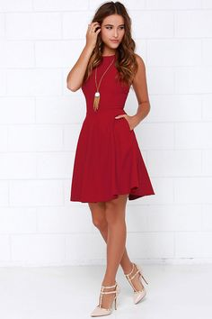 or Skater Wine Red Dress at !Now or Skater Wine Red Dress at ! Red Dress Outfit Casual, Casual Dresses, Short Dresses, Short Outfits, Wine Red Dress, Wine Colored Dresses, Dress Red, Pageant Dresses, Red Fashion