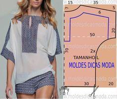 Analise de forma detalhada o desenhe do molde de blusa étnica. Blusa com encaixe de tecido com estampado étnico. As medidas correspondem ao tamanho L.