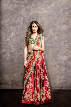 Shyamal & Bhumika Red Embroidered #Lehenga With Green #Blouse.