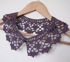 Sorbet Cassis lace crochet collar in burgundy wine by elfinhouse