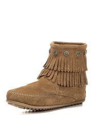Women's Double Fringe Side Zip Boot, Dusty Brown