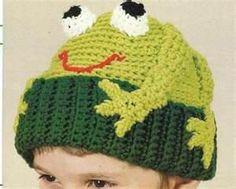 Crochet frog hat for children Crochet Frog, Mode Crochet, Crochet Beanie, Knit Or Crochet, Crochet Crafts, Crochet Projects, Crochet Baby Hat Patterns, Crochet Kids Hats, Crochet Clothes