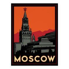 moscow russia kremlin art deco retro travel posters