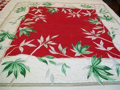 Vintage linen tablecloth red white gray leaf by BlueSkyLane, $10.50