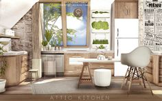 Attic Kitchen DOWNLOAD: Counter / Fridge / Fridge Cabinet / Stove / Sink / Shelf / End Table / Windows / Poster / Wall 1 / Wall 2 / Plants / Living Seat / Tea Kettle / Ceramic Canister / Cups 1 / Cups...