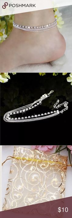 "2 left Crystal rhinestone diamond anklet Brand new. Approx 8"" with 2"" extender. If interested in both foot jewelry please send me an offer for $17 and I will accept. Please do not purchase if you have very petite ankles‼️Please ❌ trade and ❌ offers. Price is firm unless bundled.‼️ Elegant Jewelry Jewelry"