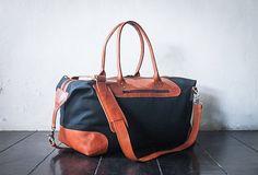 weekend bag shoulder bag handmade canvas leather by SunriseNomad