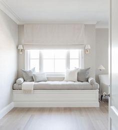 BEDROOM BY ALYSSA KAPITO Follow @kapitomullerinterior on instagram for more! Window seat / Interior design / Master Bedroom / Reading nook