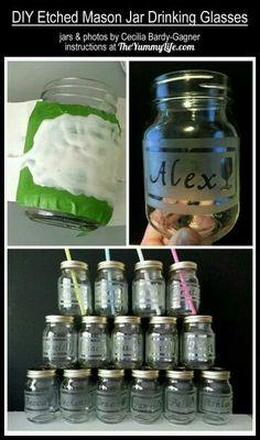 Etched mason jars