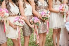 Love the short glitter skirt dress in the center!