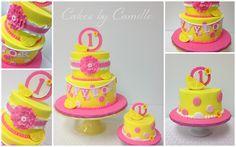 Pink Lemonade birthday cake, with fondant lemon wedge accents. Like the color scheme and the banner on the cake Sunshine Birthday, Baby 1st Birthday, First Birthday Cakes, Birthday Ideas, Birthday Parties, Cupcakes, Cupcake Cakes, Limonade Rose, Pink Lemonade Cake