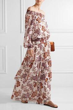 Tory Burch - Indie Tiered Printed Silk-georgette Maxi Skirt - Ivory - US12