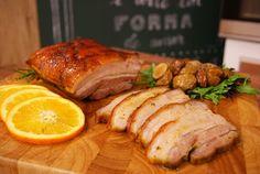 Barriga de porco assado com molho de laranja                                                                                                                                                                                 Mais