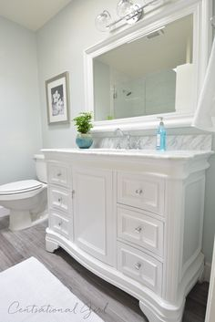 Centsational Girl bathroom remodel. Uses this vanity: http://www.wayfair.com/Kitchen-Bath-Collection-Katherine-48-Bathroom-Vanity-Set-KBC-A48WTCARR-KBCL1062.html