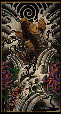 Мои рисунки. – 350 фотографий Japanese Koi Fish Tattoo, Japanese Tattoos For Men, Japanese Tattoo Designs, Japanese Sleeve Tattoos, Hannya Samurai, Traditional Japanese Tattoo Flash, Koi Tattoo Design, Japanese Background, Koi Painting