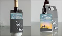 Little Crafty Pill: Tarjeta-colgante para botella / Wine bottle hang card Wine Bottle Tags, Handmade Gift Tags, Wine Glass Charms, Mini Albums, Cardmaking, Craft Projects, Perfume Bottles, Christmas Gifts, Crafty