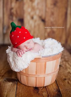 Strawberry baby newborn knit hat by KnitBabyCouture on Etsy, $24.00