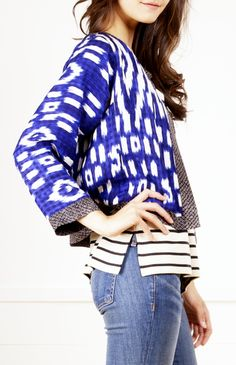 Stripes + statement jacket is always a good look (Dries Van Noten) Cute Fashion, Spring Fashion, Womens Fashion, Mode Style, Style Me, Style Outfits, Vestidos Sexy, Look Chic, Pulls