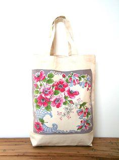floral vintage hankie tote bag