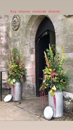 Church flowers with eremurus , molucella, thistles, amaranthus Milk Churn, Amaranthus, Thistles, Church Flowers, Display, Home Decor, Floor Space, Decoration Home, Billboard