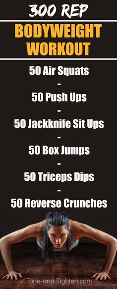 Build lean muscle at home with this 300 rep at-home bodyweight workout on Tone-and-Tighten.com