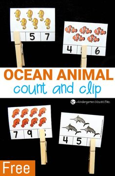 -Ocean Animal Count and Clip Cards - The Kindergarten Connection- Work on counting and number recognition with a fun ocean theme with these free ocean animal count and clip cards – great for building fine motor too! Preschool Themes, Preschool Math, Preschool Printables, Numbers Preschool, Animal Activities, Preschool Activities, Vocabulary Activities, Ocean Unit, Ocean Crafts