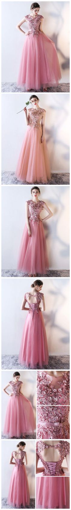 CHIC A-LINE SCOOP TULLE APPLIQUE MODEST PINK LONG PROM DRESS EVENING DRESS AM651 #amyprom  #fashion #party #evening #chic #promdress #promdresslong #longpromdress #eveningdress  #pink