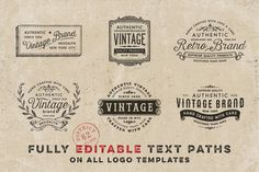 VINTAGE LOGO TEMPLATES vol. 2 by DISTRICT 62 studio on @creativemarket