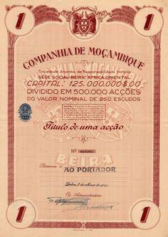 Titulo de acções da Companhia de Moçambique