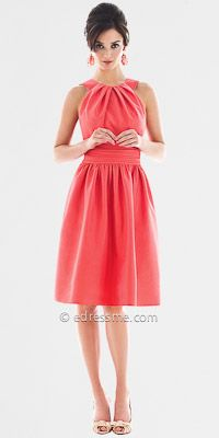 Sleveless Halter Cocktail Length Bridesmaid Dresses by Alfred Sung from Dessy Group