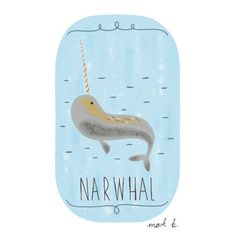 Narwhal - 6x4 print - Available in pink, peach, cream, green, teal, blue & purple - Blue nursery art print