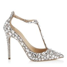 JIMMY CHOO Storm 110 Nude Suede, Crystal Covered Pointy Toe Pumps. #jimmychoo #shoes #s